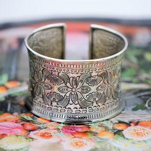 Jewelry - Hand Engraved Thai Flower Sterling Cuff Bracelet